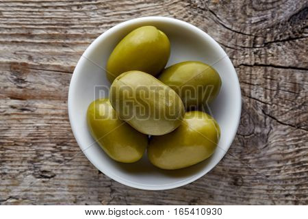 Bowl Of Green Olives From Above