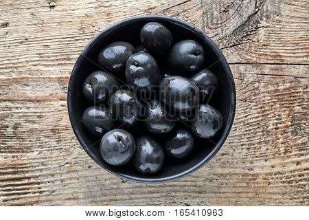 Bowl Of Black Olives From Above