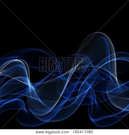 Abstract blue fume shapes on black background