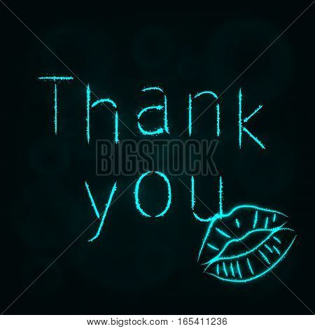 Thank You Illustration Icon, Lights Silhouette on Dark Background. Glowing Lines and Points