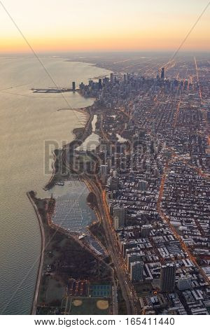 Chicago Skyline Sunset with Lake Michigan Aerial View