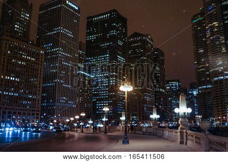 Building in Chicago Downtown at Night in Winter