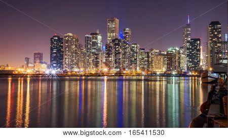 Chicago Skyline at Night with Lake Michigan