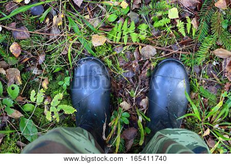 view of the legs in camouflage pants and rubber boots in the forest on forest ground
