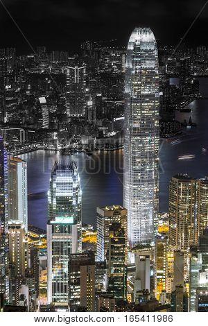 The Night Skyline Of Hong Kong, A Metropolitan