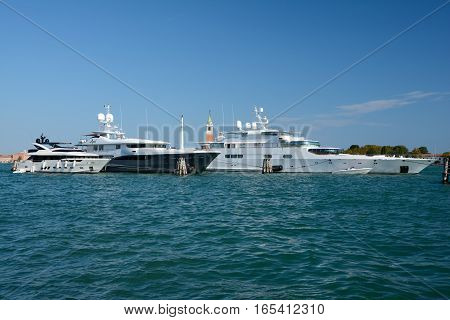 Venice Italy - September 9 2016: Luxury Yachts moored in Venice Italy.