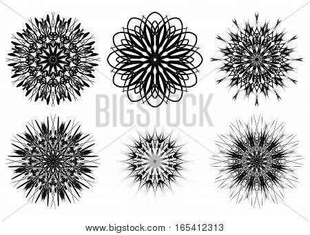 Set of six spirograph shapes. Web design elements isolated on white background. Black and white outline. Flowers and snowflakes. Can be used as coloring book pages. Vector