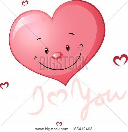 cute heart valentine illustration - vector cartoon