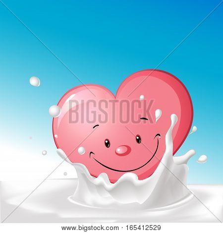 cute heart in splash milk illustration - vector cartoon