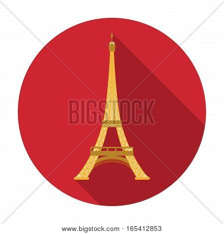 Eiffel tower icon in flat design isolated on white background. France country symbol stock vector illustration.