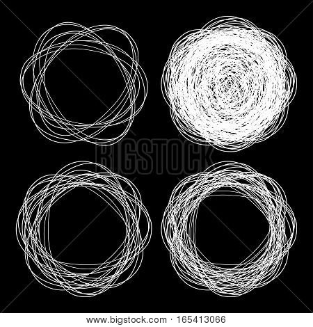 Set of vector hand drawn logo circles using sketch drawing scribble white circle lines on black background. Doodle emblem design elements for health, treatment, medical, cosmetic. Round icons