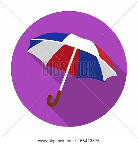 Umbrella icon in flat design isolated on white background. France country symbol stock vector illustration.