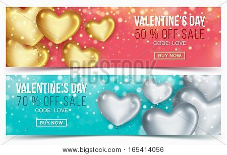Two Sale header or banner with discount offer for Happy Valentine's Day celebration. Balloons in the shape of heart. Vector illustration
