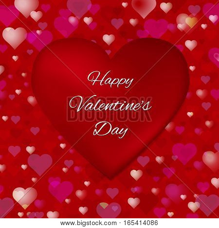 Abstract Valentine s Day vector background. Transparent hearts on a dark red background. Congratulatory text on the big heart. Usable for design greeting card, banner, invitation, poster, screen