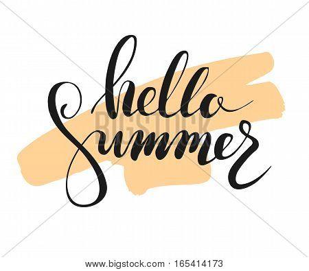 Hallo summer lettering on brushstroke. Vector illustration