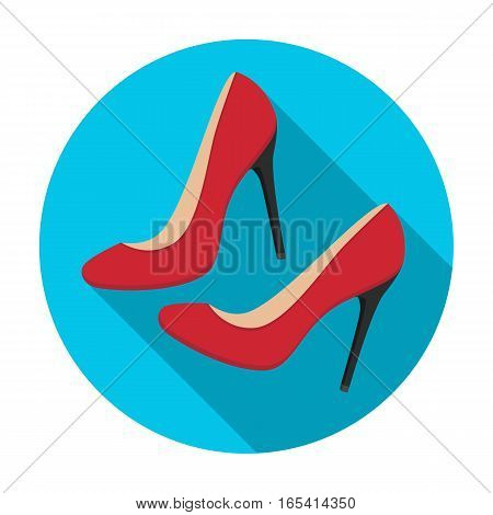 Shoes with stiletto heel icon in flat desgn isolated on white background. France country symbol stock vector illustration.