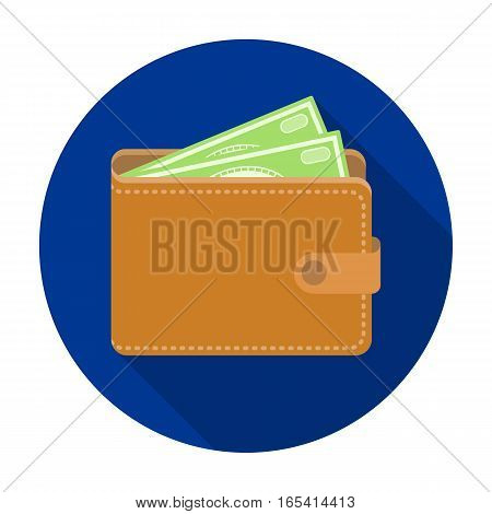 Wallet with cash icon in flat design isolated on white background. Rest and travel symbol stock vector illustration.