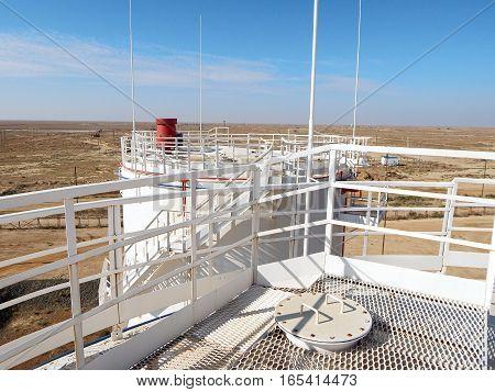 Vertical Steel Tank top view. Oil reservoir.