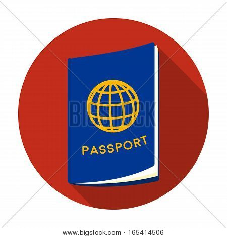 Passport icon in flat design isolated on white background. Rest and travel symbol stock vector illustration.