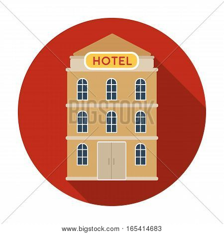 Hotel building icon in flat design isolated on white background. Rest and travel symbol stock vector illustration.