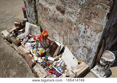 New Orleans Louisiana USA - June 17 2014: The tomb of Marie Laveau in the St. Louis Cemetery No. 1 in New Orleans Louisiana.