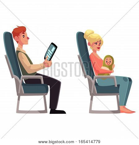 Airplane passengers - young woman with little baby and man reading from tablet, cartoon vector illustration on white background. Airplane seats occupied by man with tablet and woman holding baby