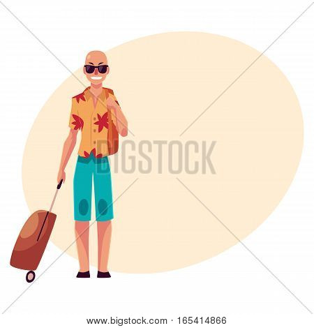 Young bald man in sunglasses, aloha shirt and shorts with a suitcase, cartoon illustration on background with place for text. Airplane passenger with a suitcase, going to, from vacation