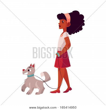 Black, African American girl walking with her white dog on a loose leash, cartoon vector illustration on white background. Full length portrait of black girl walking with her dog, puppy