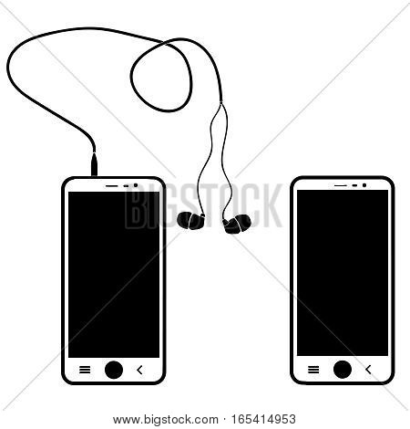 Phone with headphones on white background, vector