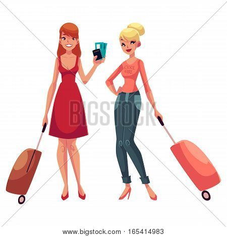 Two girls, in dress and jeans, travelling together with suitcases, one holding tickets, another wearing backpack, cartoon illustration isolated on white background. Young women with luggage, suitcases
