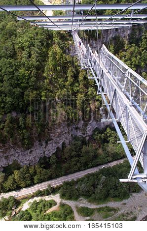 The longest suspension bridge in the world - Skybridge in skiparque Adler.