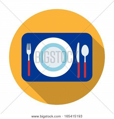 Served table icon in flat design isolated on white background. Rest and travel symbol stock vector illustration.