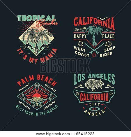 A SET OF DRAWINGS FOR PRINTING ON T-SHIRTS. Handmade Palms trees retro style. Design fashion apparel on dark background. T shirt graphic vintage vector illustration badge label logo template.
