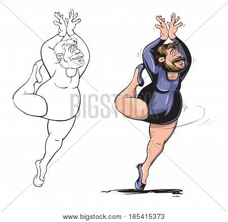 Vector illustration of funny fat man performing pirouette