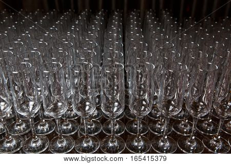 Picture of empty cleaning glasses on black background