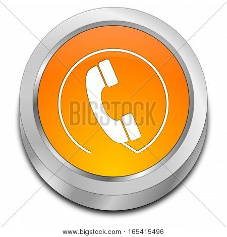 orange Phone call Button - 3D illustration