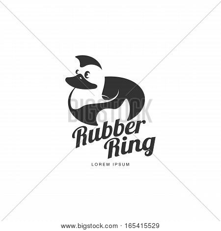 Logo template with rubber duck swimming ring, vector illustration isolated on white background. Silhouette, side view graphic dack shaped rubber ring logotype, logo design