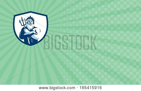 Business card showing Illustration of triton mythological god arms crossed holding trident viewed from front set inside shield crest on background done in retro style.
