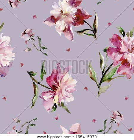 Seamless pattern with pink peonies and small hearts. Watercolor painting. Hand drown.