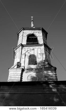 Church of St. John the Baptist in Roschene in Vologda Russia. Black and white.
