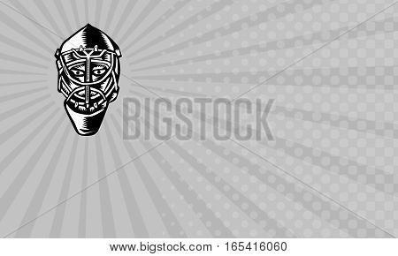 Business card showing Illustration of a ice hockey goalie helmet done in retro woodcut style.