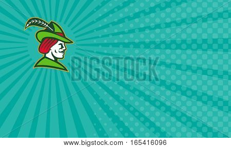 Business card showing Illustration of a Robin Hood wearing medieval hat with a pointed brim and feather viewed from side done in retro style.