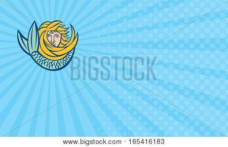 Business card showing Illustration of a mermaid head with tail viewed from front done in retro style .