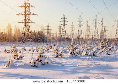 High Voltage Power Lines In The Winter. Winter Landscape.