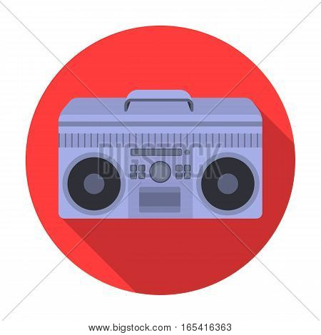 Boombox icon in flat design isolated on white background. Hipster style symbol stock vector illustration.