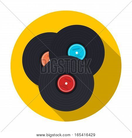 Vinyl records icon in flat design isolated on white background. Hipster style symbol stock vector illustration.