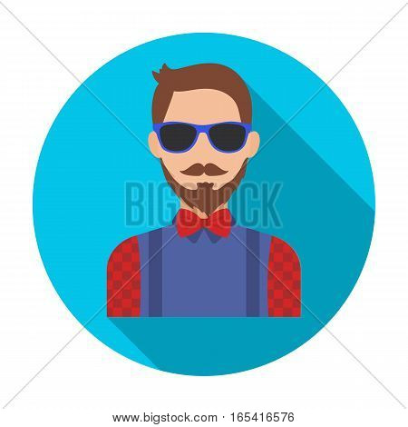 Hipster icon in flat design isolated on white background. Hipster style symbol stock vector illustration.