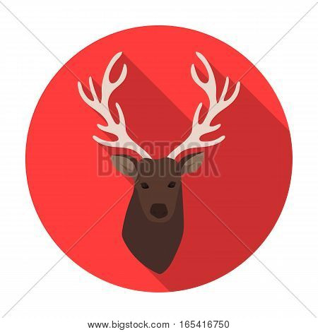 Deer head icon in flat design isolated on white background. Hipster style symbol stock vector illustration.