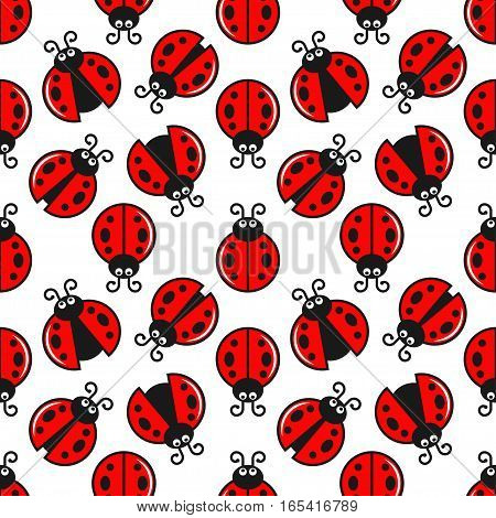 Ladybug Seamless On White Design Background. 8 eps