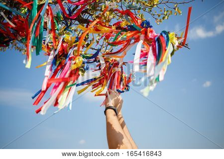 Wish tree with colored ribbons on background of blue sky